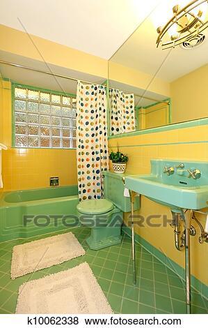 Vert lime, et, salle bains jaune, vieux, antiquité, design. Banque de Photo