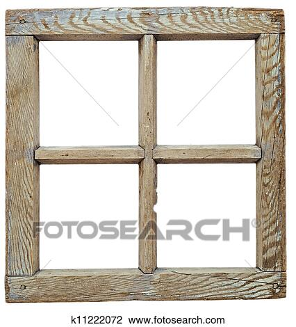 Stock Photo of Very old grunged wooden window frame isolated in ...