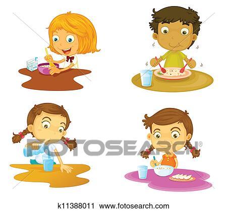 Clipart Vier Kinder Haben Essen K11388011 Suche Clip Art
