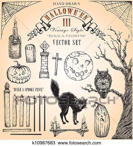 Vintage Halloween Iii Vector Set Clipart K10987683 Fotosearch