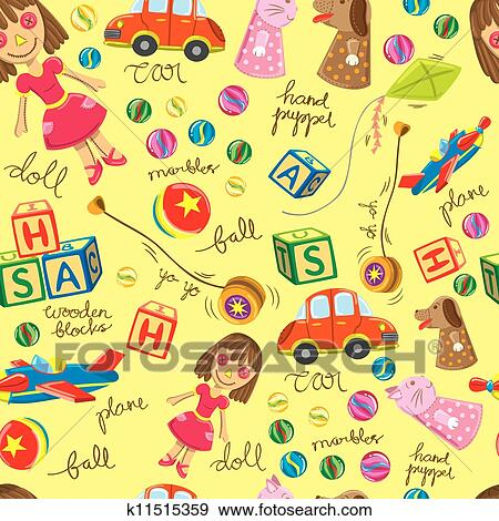 Clip Art Of Vintage Toys Background K11515359 Search Clipart