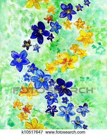 Stock illustration of watercolor dark blue and yellow flowers on a stock illustration watercolor dark blue and yellow flowers on a green background fotosearch mightylinksfo