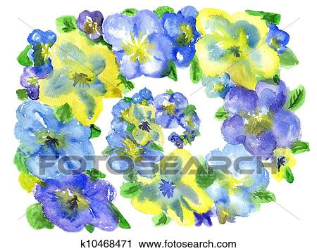Stock photography of watercolor dark blue and yellow flowers on a stock photography watercolor dark blue and yellow flowers on a white background fotosearch mightylinksfo
