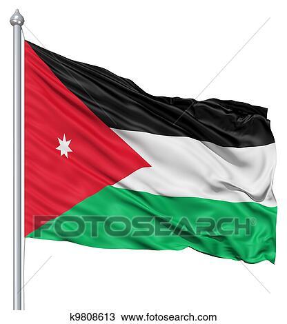drawing of waving flag of jordan k9808613 search clipart