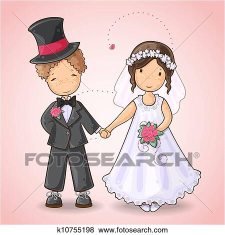 Cartoon Ilration Of A Boy And In Wedding Dress