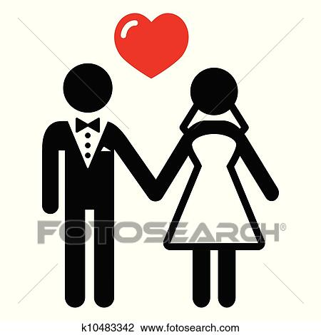 clipart of wedding married couple icon k10483342 search clip art rh fotosearch com indian wedding couple clipart wedding couple clipart black and white