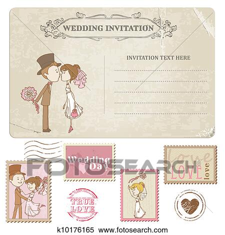 Wedding Postcard And Postage Stamps For Wedding Design