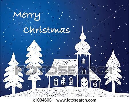 Clipart - weihnachten, kirche, mit, schnee, nacht k10846031 - Suche ...