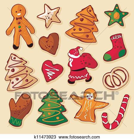 weihnachten lebkuchen pl tzchen clipart k11473923. Black Bedroom Furniture Sets. Home Design Ideas