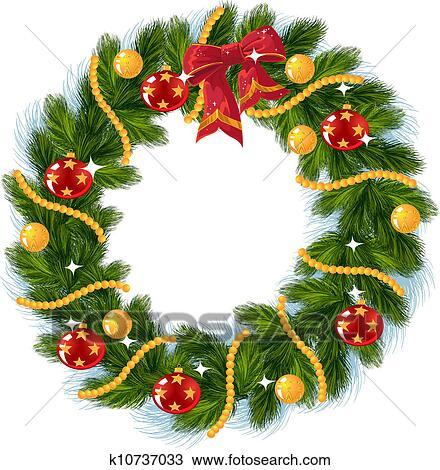 Clipart Weihnachtsdeko Mit Roter Bogen K10737033 Suche Clip