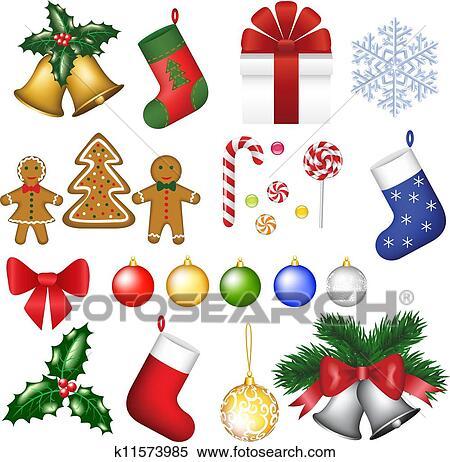 Clipart Weihnachtsdeko Set K11573985 Suche Clip Art