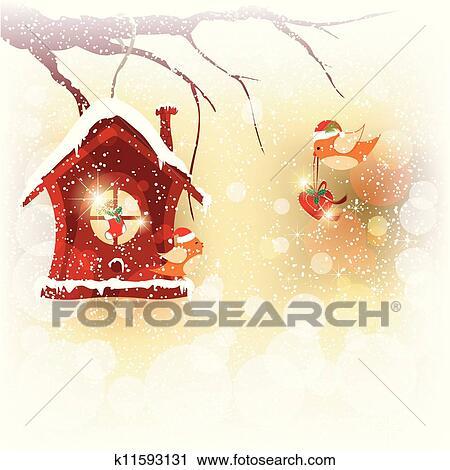 Clipart - weihnachtskarte, rotkehlchen, vogel, versenden, gruß ...