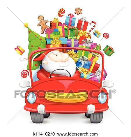 Weihnachtsgeschenke Clipart.Weihnachtsmann Fahren Auto Mit Weihnachtsgeschenke Clipart