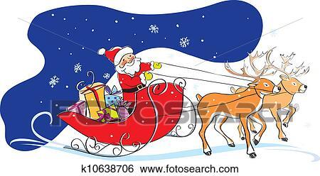 Clip Art Weihnachtsmann Schlitten Weihnachtsgeschenke K10638706