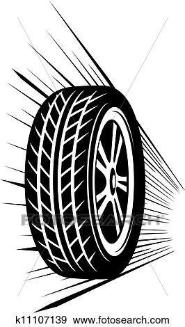 Clip Art of wheel (vector tyre) k11107139 - Search Clipart, Illustration Posters, Drawings, and ...