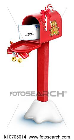 Christmas Mailbox.Whimsical Cartoon Christmas Mailbox Stock Illustration