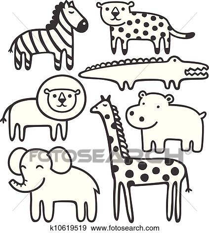 Clip Art Of Wild Animals In Black And White Vector Illustration Set