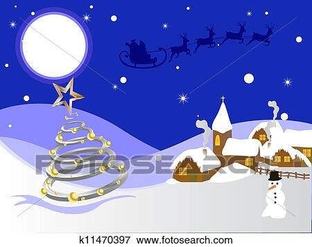 Christmas Card Clip Art.Winter Scene Christmas Card Clip Art