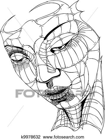 Clipart of Wireframe Woman Face k9978632 - Search Clip Art ...