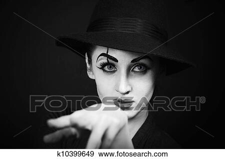 Stock Photo - woman mime with theatrical makeup. Fotosearch