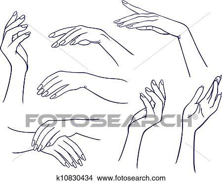 Clipart Of Woman S Hands Set K10830434 Search Clip Art