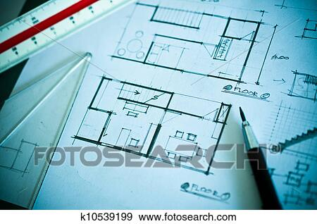 Stock Photograph Work Of Interior Design Concept And Drawing Tools Fotosearch Search