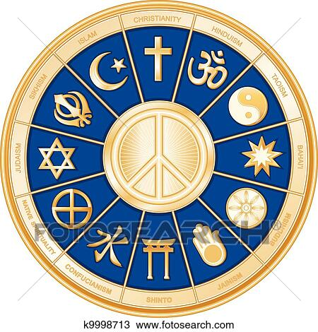 Clipart Of World Religions Peace Symbol K9998713 Search Clip Art