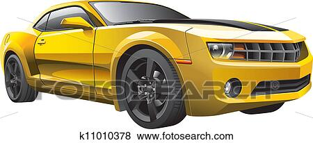 Clip Art Of Yellow Muscle Car K11010378 Search Clipart