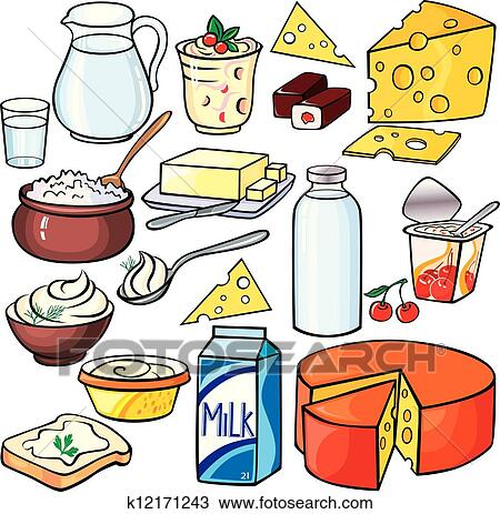 eaccc20b6473 Γαλακτοκομικά προϊόντα, εικόνα, θέτω Κλιπαρτ | k12171243 | Fotosearch