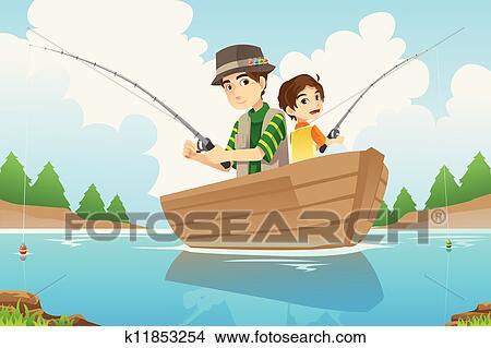 الأب و الابن صيد السمك Clipart K11853254 Fotosearch