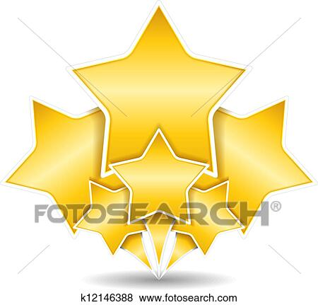 ذهبي النجوم Clip Art K12146388 Fotosearch