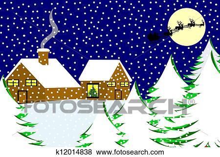 クリスマス 風景 イラスト K12014838 Fotosearch