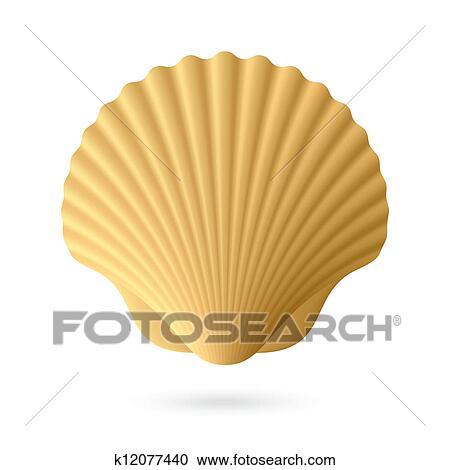 ホタテ貝 貝殻 クリップアート切り張りイラスト絵画集