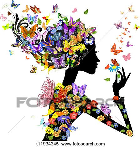 女の子 ファッション 花 で 蝶 クリップアート切り張り