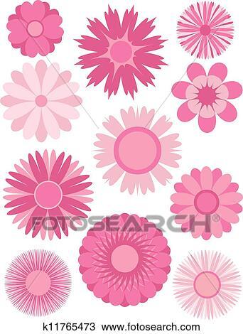 春の花 抽象的 イラスト クリップアート切り張りイラスト絵画
