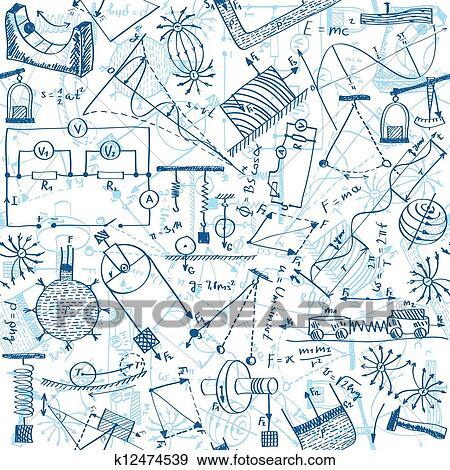 物理学, seamless, パターン クリップアート | k12474539 | Fotosearch