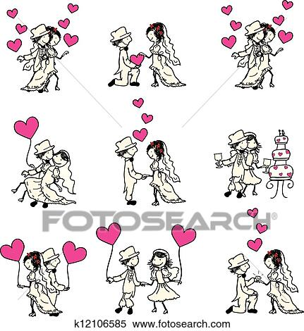結婚式の カップル クリップアート切り張りイラスト絵画集
