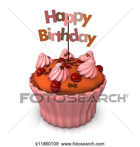 イラスト 誕生日おめでとう ピンク ケーキ K11860109 ベクトル
