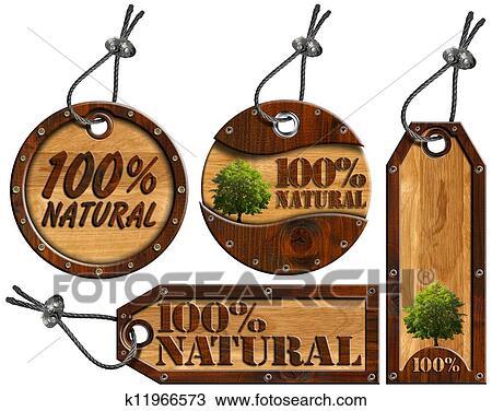 100% Natural - Wooden Tags - 4 items Drawing