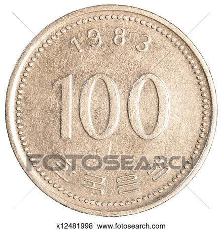 100 South Korean Wons Coin Isolated On White Background