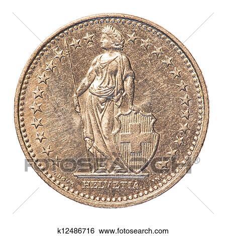 2 Swiss Francs Coin Stock Photograph