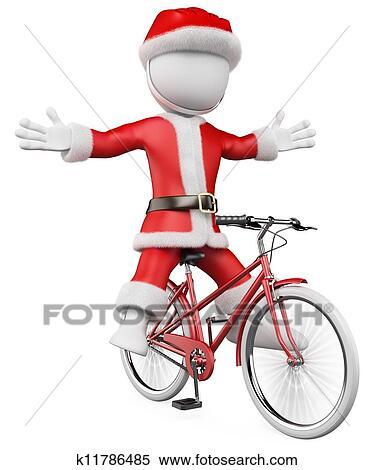 Babbo Natale In Bicicletta.3d Bianco Persone Babbo Natale Su Bicicletta Archivio