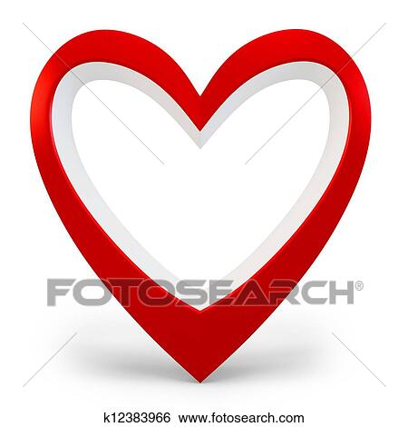 3d heart shape Love you symbol, Valentine's day abstract on white background