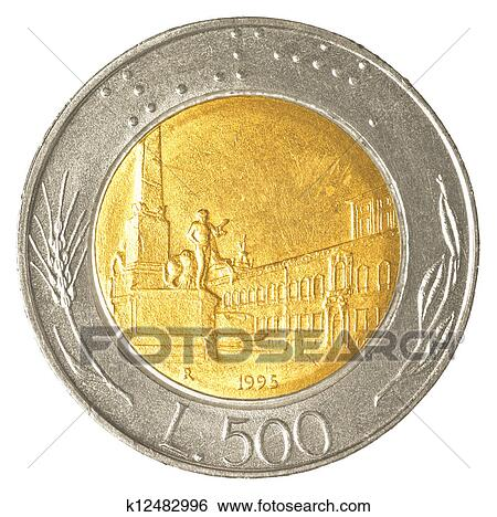 500 Italian Lira Coin Isolated On White Background