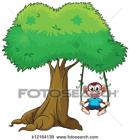 Swinging cartoon monkey from a tree