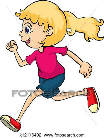 clipart of a running girl k12176492 search clip art illustration rh fotosearch com girl running fast clipart little girl running clipart
