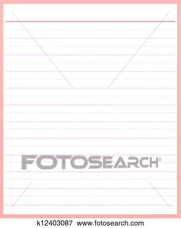 A Sheet Of Pink Color Lined Paper Stock Illustration