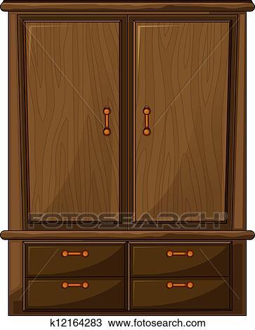 Clipart Of A Wardrobe K12164283 Search Clip Art Illustration