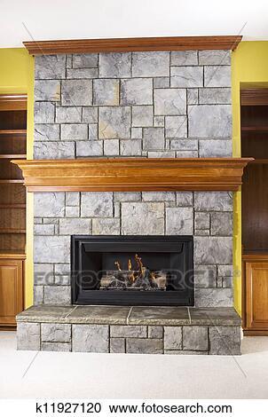 Verbazingwekkend Aardgas, openhaard, en, vervaardigd, steen, en, hout, mantels EX-66
