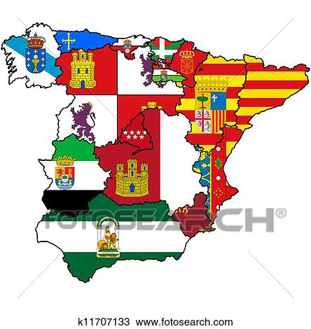 Map Of Spain Drawing.Administration Map Of Spain Drawing